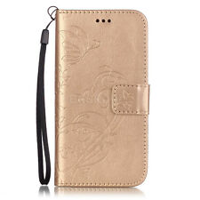 New For Various Cell Phone Embossed Butterfly Floral PU Leather Stand Case Cover