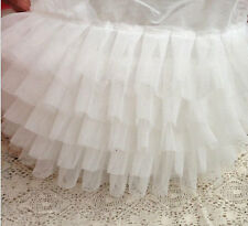 5 Row Layer White Lace Trim Elastic Lace Trims Ruffled Lace Bubble Skirt