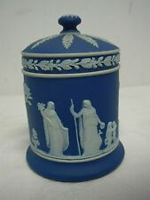 "ANTIQUE WEDGWOOD MADE IN ENGLAND DARK BLUE JASPERWARE 5"" COVERED JELLY JAM JAR"