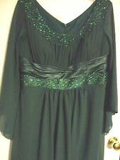 WOMENS WEDDING HUNTER GREEN BEADED SEQUINED CHIFON LINED CUSTOM MADE LONG DRESS