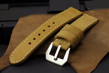 SV Buffalo Suede Leather Golden Brown 24mm Panerai Watch Strap Band+GPF Buckle