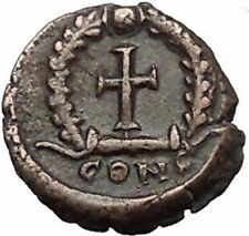 THEODOSIUS II 425AD Authemtic  Ancient Roman Coin Cross within wreath  i55304