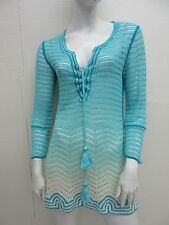 CALYPSO St Barth Crochet Knit Ombre Self Tie Linen Tunic Top Size S