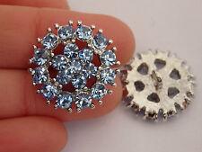 2 cristal botones del rhinestone diamante boda tapicería azul redondo UK-02