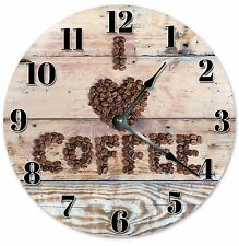 "I LOVE COFFEE Wood Clock - Large 10.5"" Wall Clock - 2051"