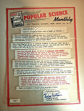 VINTAGE POPULAR SCIENCE 1 PAGE CLEAR THIN PLASTIC AD MAGAZINE SUBSCRIPTION PROMO