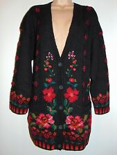 NWT Laura Ashley vintage hand knitted intarsia floral heavy wool cardigan, XL