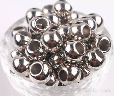Lots 50/100X Rose Golden Silver Plated Big Hole Spacer Acrylic Beads 10/12/14mm