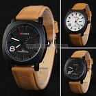 Fashion Curren Men Military Leather Strap Wrist Sport Analog Quartz Army Watch
