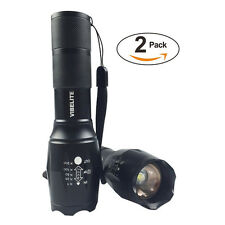 2-Pack High Powered Tactical LED Flashlight 5 Mode Zoom Function Taclight 18650