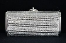 JUDITH LEIBER Clear Crystal Encrusted Miniaudiere Silver Clutch Evening Purse