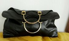 LADY ELENA BORSA HANDBAG  BLACK PREMIO OSCAR VINTAGE GENUIN LEATHER PELLE