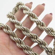 Italy 925 Sterling Silver Thick Heavy Wide Twisted Rope Chain Necklace 23""