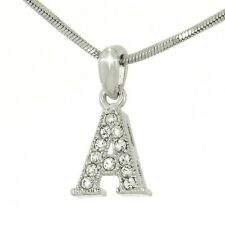 A Capital Uppercase Letter w Swarovski Crystal Initial Alphabet Pendant Necklace