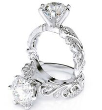 1.03 Ct Round Brilliant Cut Diamond Filigree Detail Engagement Ring E,SI1 EGL