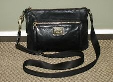 COACH BLACK LEATHER POPPY CROSSBODY SHOULDER BAG PURSE