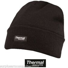 MILITARY BEANIE HAT THERMAL BLACK BRITISH ARMY CADET BOB HAT CAMPING FISHING