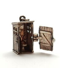 Vintage 925 Sterling Silver OUTDOOR WC TOILET OPENS Charm Pendant 4.3g