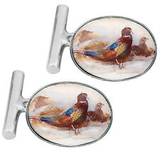 ENAMEL PHEASANT CUFFLINKS STERLING SILVER HALLMARKED 925 NEW FROM ARI D NORMAN