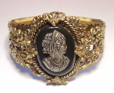 Vintage Art Deco Brass Tone Filigree Glass Repousse Cameo Hinged Bangle Bracelet