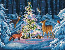Cross Stitch Kit ~ Dimensions Woodland Glow Winter Snow Forest Animals #70-08922