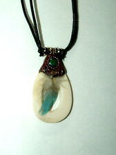 "Bone Pendant Necklace w/ Blue Feather 24"" adjustable slide cord New BLUE"