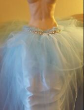 Blue Tulle Tutu Rhinestone Ballgown Skirt Belly Dance Party Bridal