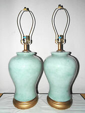 "LAMPS PAIR OF VINTAGE 28""H 3-WAY CASED GLASS ASIAN THEMED GINGER JAR TABLE LAMPS"