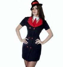 NEW SEXY GANGSTER GIRL MOLL + HAT OUTFIT FANCY DRESS HEN COSTUME SIZE S 8/10