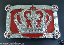 RED SKULLS GOTHIC KING QUEEN ROYAL CROWN ROYALTY BELT BUCKLE