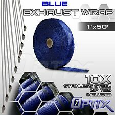"1"" x 50' Motorcycle Protection Header Exhaust Heat Tape Wrap + Ties - Blue (F)"