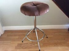 Vintage Retro Bar/Breakfast Stool, Velour Padded Seat, Chrome Legs.