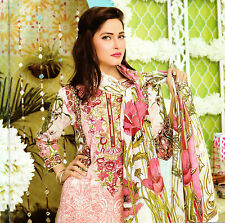 Stitched 3 Pcs Pakistani Indian Embroidered Kurta Trouser Designer Salwar Kameez