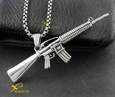 Cool! Titanium Stainless Steel AK-47 Gun Charm Pendant With A Box Chain Necklace