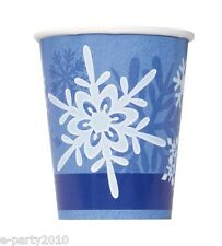 WINTER SNOWFLAKE 9oz PAPER CUPS  (8) ~ Birthday Party Supplies Blue White Drink