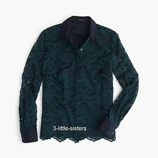 NWT J. Crew Navy Green Edged Lace Button Collared Blouse Shirt Scalloped 14 NEW