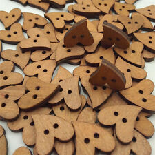 100pcs 20Mm Heart Shape Wood Wooden Sewing Button Craft Scrapbooking