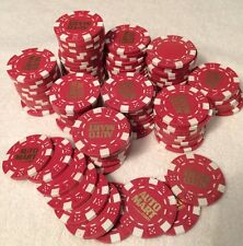 Poker Chips AUTO MART Lot Of 110 Red Chips With White Accent And Gold Imprint