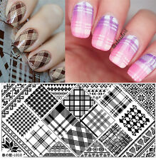 BORN PRETTY 12*6cm Rectangle Nail Art Stamping Image Plate Checked Design L010