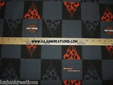"HARLEY DAVIDSON logo BLACK gray FIRE BIKER motorcycle 8"" SQUARE pair set FABRIC"