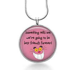 Best Friends Necklace- Alice in Wonderland necklace- Cheshire cat pendant,quote
