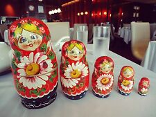 NEW Genuine Wooden Russian Nesting Babushka Matryoshka Dolls Hand Painted