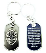 Police Officer's Wife Prayer Brushed Steel Keychain