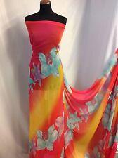 "NEW Designer Multicolour Large Floral Chiffon Print Fabric 60""154cm Dress Craft"