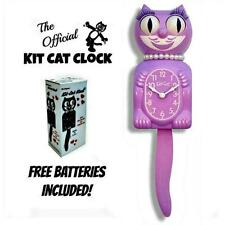 "ORCHID LADY KIT CAT CLOCK 15.5"" Free Battery LIMITED EDITION Lilac Light Purple"