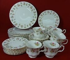 ROYAL ALBERT china WINSOME White Montrose 40-piece SET SERVICE for Eight (8)