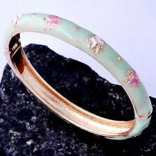 Posh Womens 24K Yellow Gold Plated Enamel Band Bangle Bracelet  Korean Jewelry