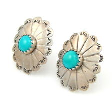 Vintage Navajo Stamped Sterling Silver Turquoise Concho Stud Earrings | G A