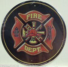 """FIRE DEPT. 12"""" metal sign fire department seal logo badge firemen fireman rescue"""