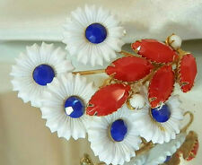 Vintage 70's Glass and Plastic Flower Red White Blue Large Brooch Nice 76n6